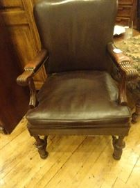 Pair of Leather Nail Head Arm Chairs