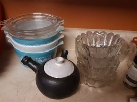 Vintage Pyrex and glass