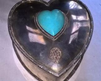 Durgin Sterling Heart Jewelry Box with Turquoise