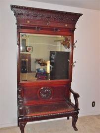 English Victorian Aesthetic Mahogany Hall Bench