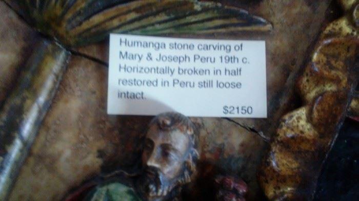 HUAMANGA STONE RELIEF OF MARY JOSEPH  PERU 19TH CENTURY