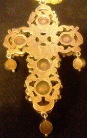 Austro Hungarian Silver Gilt Pectoral Cross Natural Stones B