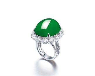 Lot 887 Jadeite  Diamond Ring GIA