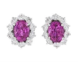 Lot 598 Pink Ceylon Sapphire Earrings