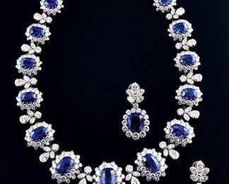 Lor 653 Sapphire  Diamond Necklace Set