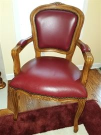 Carved armchair with red genuine leather upholstery $100 available now!