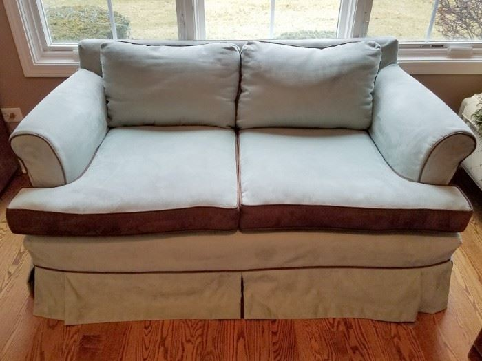 Light aqua/brown loveseat $100 available now!