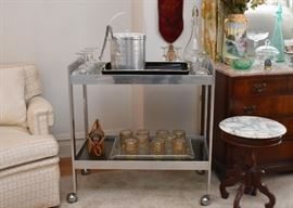 Vintage / Mid Century Modern Bar Cart with Smoky Glass