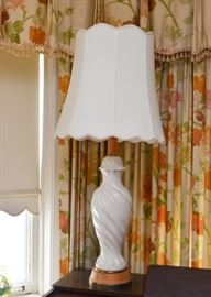 White Ceramic Table Lamp with Wood Base