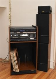Vintage Fisher Stereo with Turntable, Double Cassette Deck and Speakers