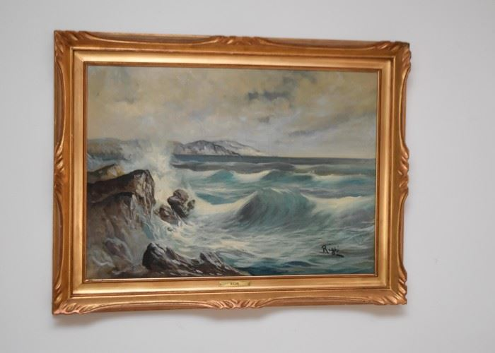 Framed Seascape Painting, Signed Righi