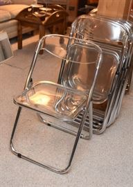 Clear Lucite / Plastic Folding Chairs (set of 11)