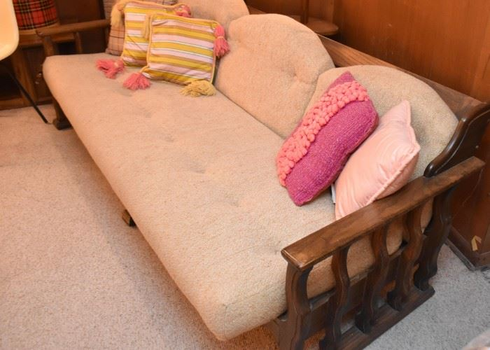 Vintage 3-Seat Sofa with Wood Base