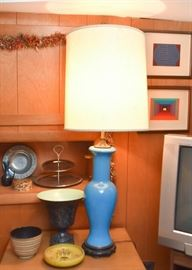 Chinese Style Table Lamp, Vintage Pottery
