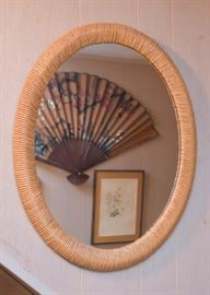 Oval Wall Mirror with Rattan Frame