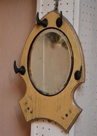 Small Oval Wall Mirror with Hooks