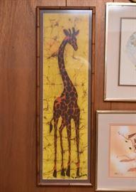 Batik Giraffe Artwork , Framed