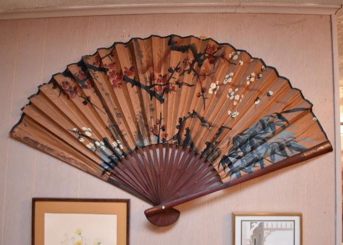 Large Asian Painted Fan Wall Hanging