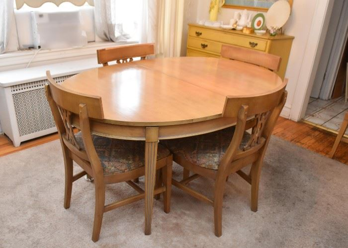 Vintage Dining Table with 6 Chairs (1 extra leaf included, not shown)