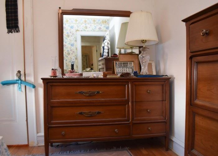 Vintage Lowboy Chest of Drawers with Mirror
