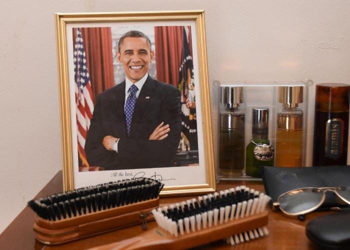 Framed Barack Obama Photo, Vanity Items, Cologne