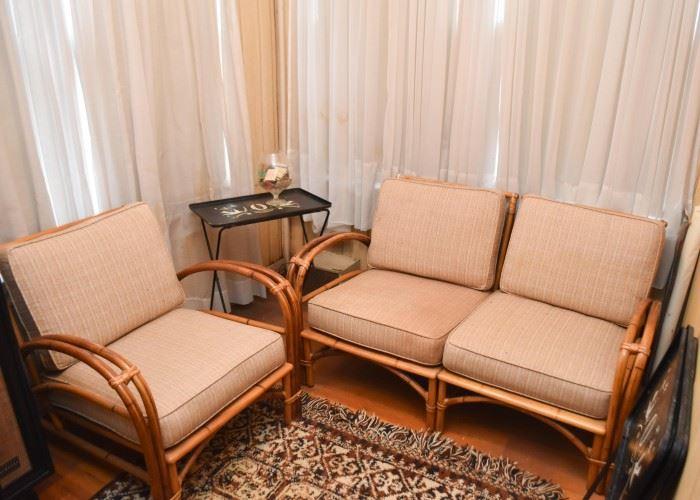 Rattan / Bamboo Love Seat & Armchair