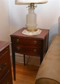 Antique Vintage Side Table / Nightstand with 2 Drawers