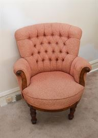 Vintage Tufted Armchair with Wood Carved Detail