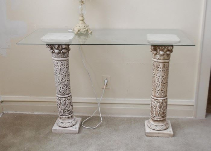 Console Table with Columns & Glass Top