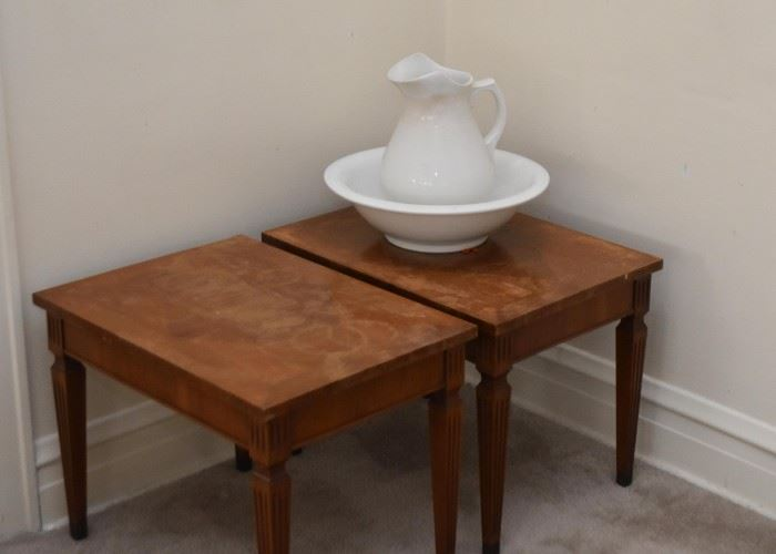 Pair of Vintage End Tables, Pitcher & Bowl Set (Wash Basin)