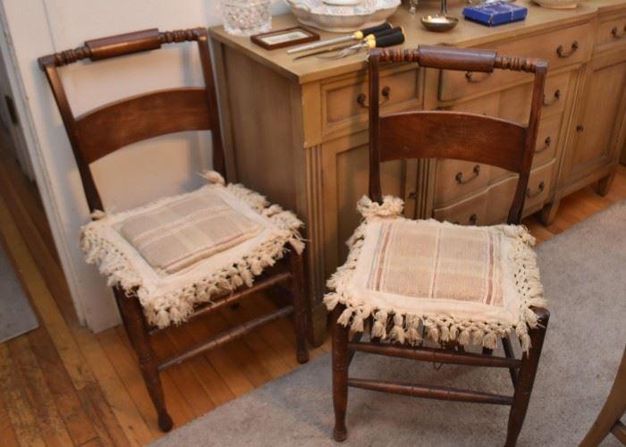 Pair of Vintage Wood Side Chairs