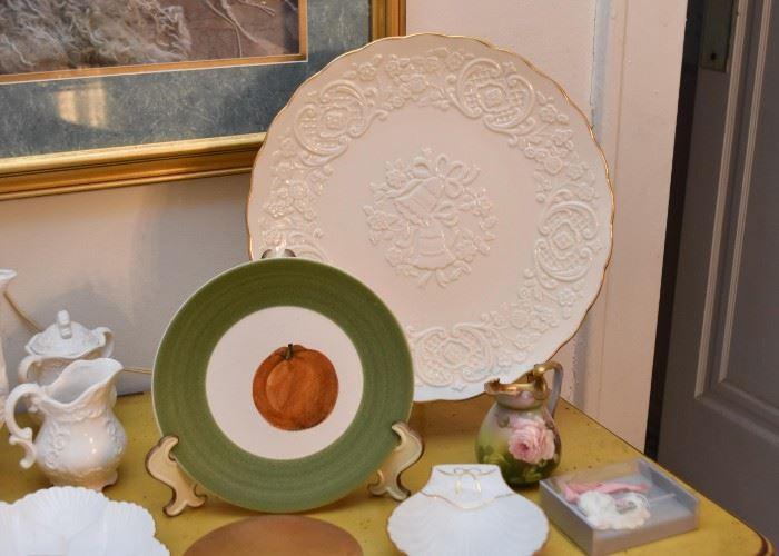 Wedding / Anniversary Plate, Hand Painted Pumpkin Plate, Vintage Hand Painted Creamer
