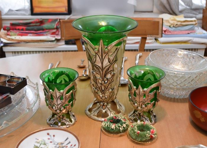 Metal Vases with Green Glass Inserts