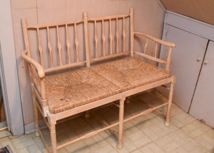 2-Seat Bench with Rush Seats