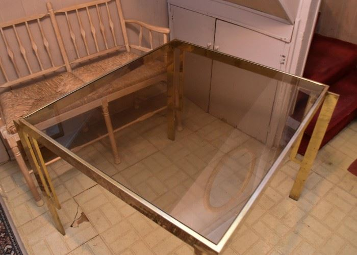 Vintage Square Brass Colored Dining or Game Table with Smoky Glass Top