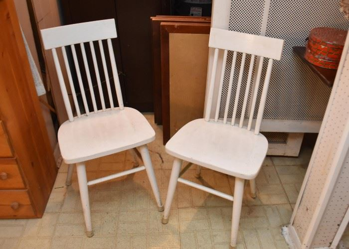 Set of 4 White Spindle Side Chairs (only 2 shown here)
