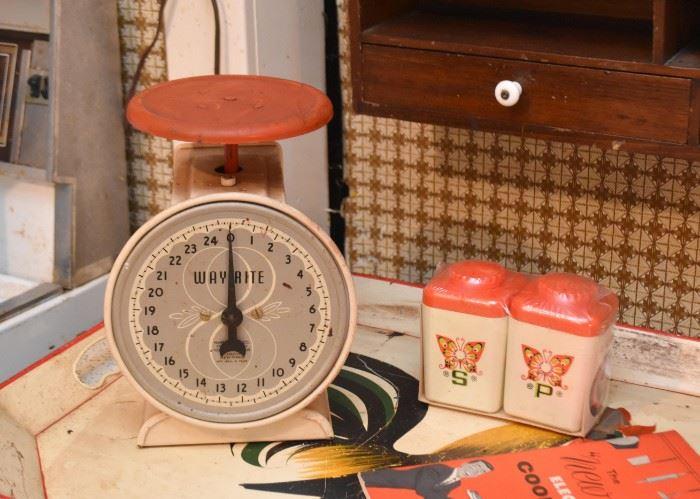 Vintage Kitchen Scale, Salt & Pepper Shakers