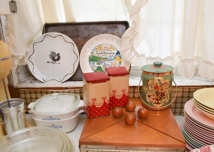 Corningware, Vintage Tins, Plates, Dinnerware, Etc. (Corningware is SOLD)