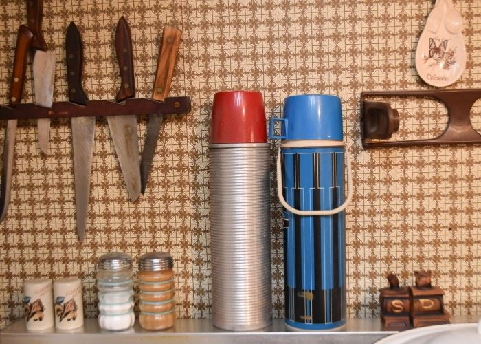 Cutlery / Knives, Vintage Thermoses, Salt & Pepper Shakers