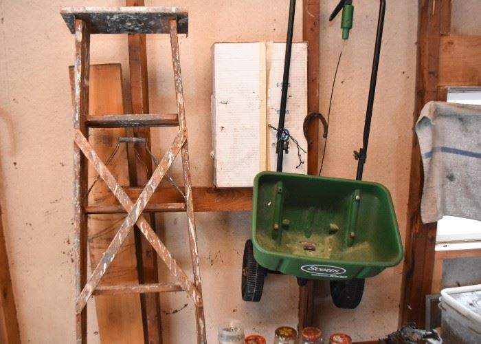 Wooden Step Ladder, Garden Seeder