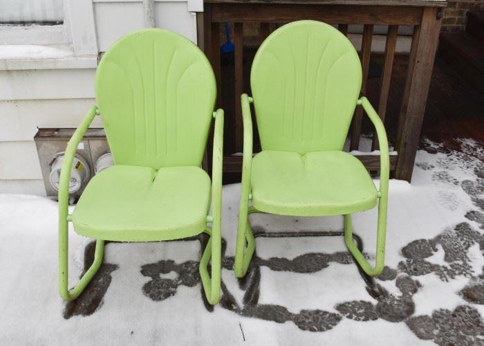 Pair of Green Metal Garden / Patio Chairs