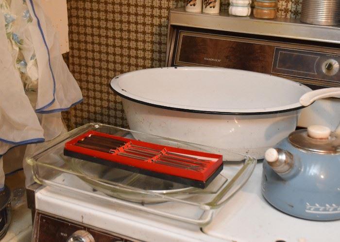White Enamelware Wash Basin, Fondue Forks, Baking Dishes