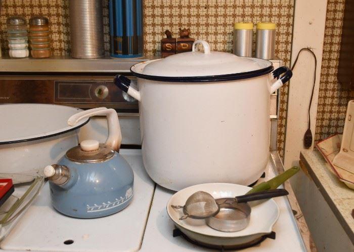 White Enamelware Stock Pot, Tea Kettle, Sauce Pan, Kitchen Utensils