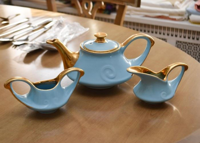 Vintage Teapot Set with Creamer & Open Sugar