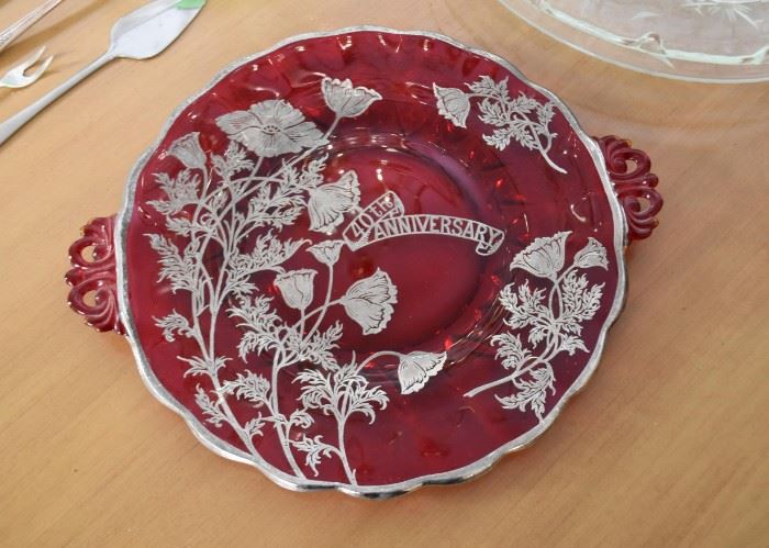 Vintage Ruby / Red Glass 40th Anniversary Plate