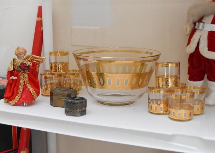 Vintage Bowl & Glass Set (Gold Detail), Christmas Decor
