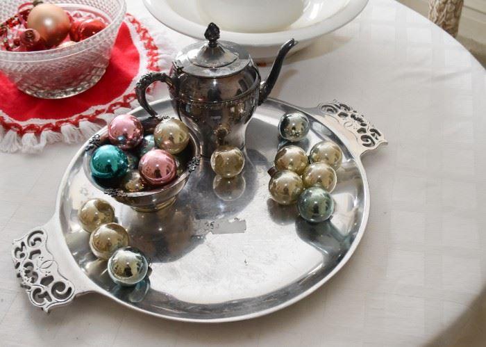 Vintage Christmas Ornaments, Serving Tray & Teapot