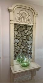 Painted finish pier mirror with shelf with nice carvings and architectural detail