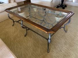 Iron, glass and wood coffee table