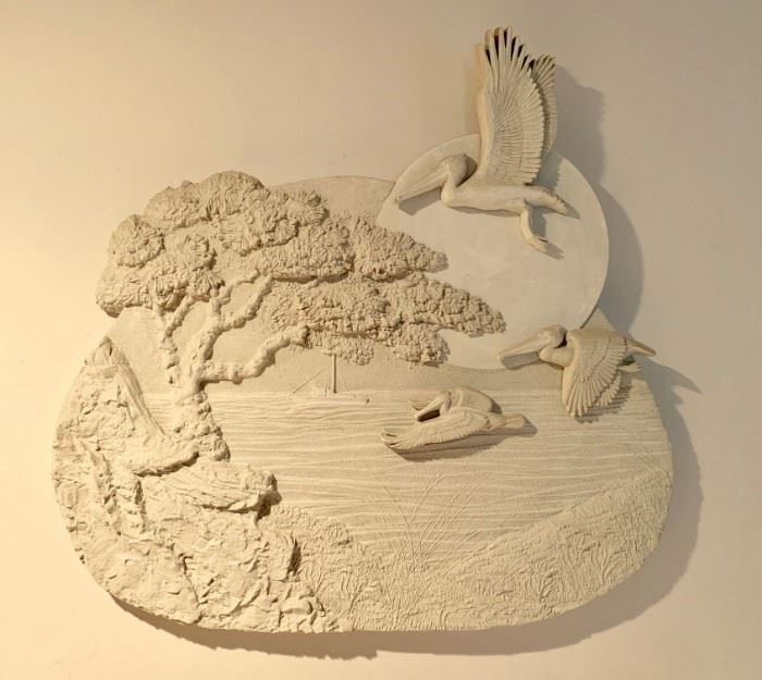 Large sandcast sculpture wall art by local San Diego artist Charles Faust